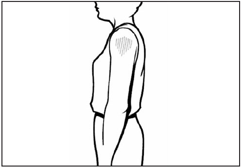 This line drawing is a side view of an adult. The deltoid muscle of the arm is shaded, showing the proper site for intramuscular vaccine administration.