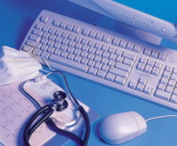 computer keyboard; stethoscope