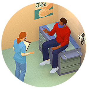 Illustration of doctor and patient talking.