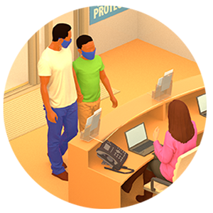 Illustration of person at front desk talking to two people.