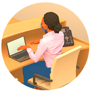 Illustration of person on a laptop.