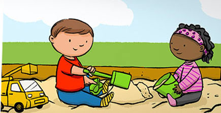 Illustration of boy and girl playing in a sandbox