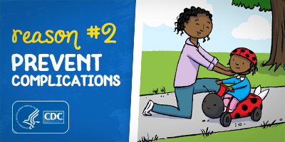 Reason #2: Prevent Complications, parent helping toddler on a scoot and ride toy