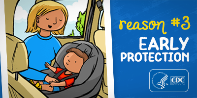 Reason #3: Early Protection, parent buckling toddler into car seat