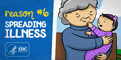 Reason #6: Spreading Illness, Baby touching the face of older grandmother, who has reduced immunity due to her old age or other health conditions