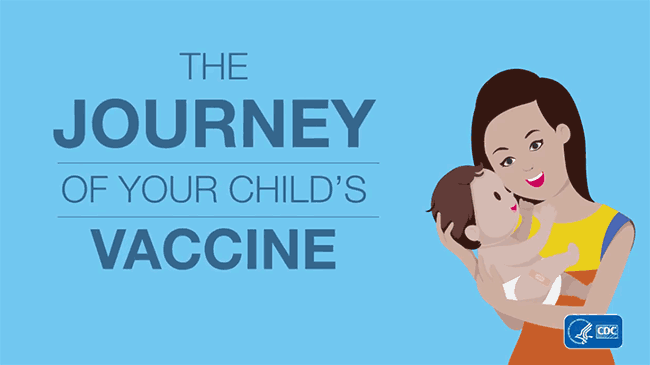 Video: The Journey of you child's vaccine; illustration of mother holding infant