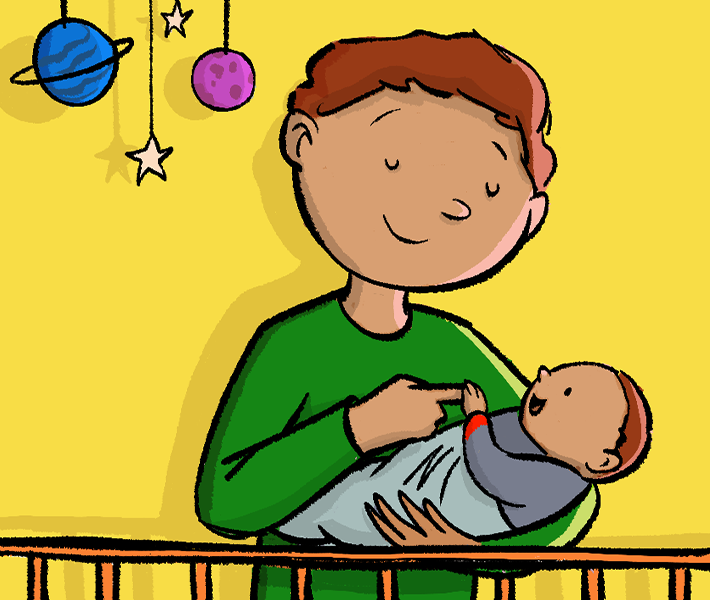 Illustration of a father holding a baby