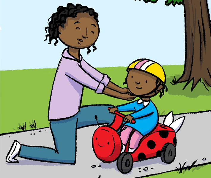 Illustration of mother placing helmet on child