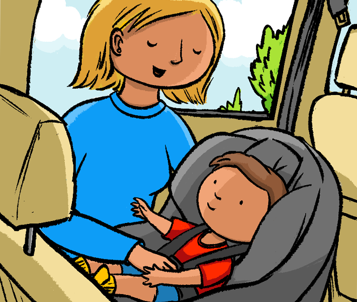 Illustration of mother securing baby into car seat.
