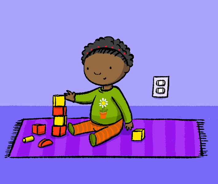 Illustration of child playing with blocks