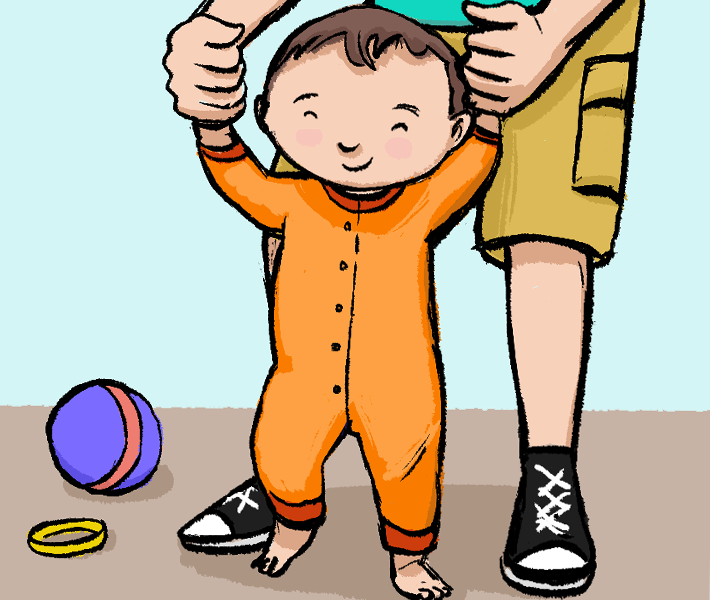 Illustration of father helping baby to walk