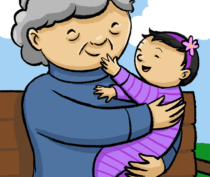 Illustration of a grandmother holding a smiling baby
