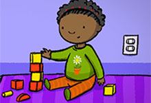Illustration of a girl playing with blocks