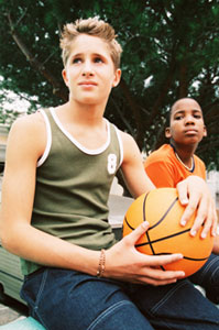 Teen boys with a basketball