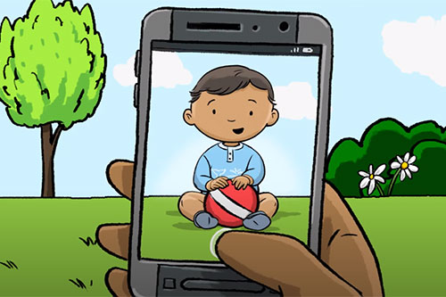 Illustration of person holding a cell phone with an image of a baby holding a ball displaying on the cell phone.