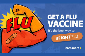 Get a flu vaccine. It's the best way to #fight flu. Learn more. image of super hero arm with band-aide.