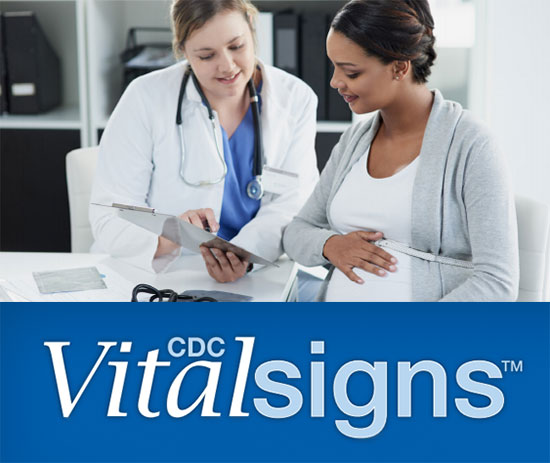 Logo: CDC Vitalsigns. Photo: female doctor showing information to pregnant woman.