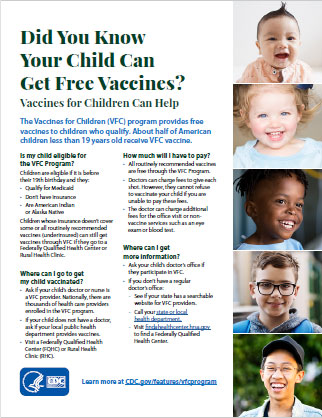 Vaccines for Children program (VFC) image of pdf flyer