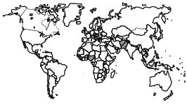 world map showing wild poliovirus in 2008 as discussed in the Polio Eradication section