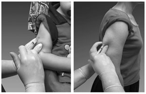 images of injection in arm of toddler and youth
