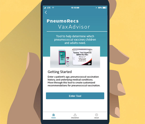 PneumoRecs VaxAdvisor Mobile App for Vaccine Providers.