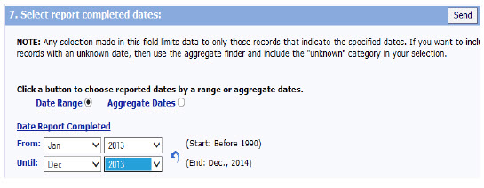 Screen shot of Select Report Completed Dates, allows you to search for a specific date