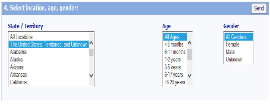 Screen shot showing Location, Age, and Gender, which allows you to select specific locations, ages, and genders.