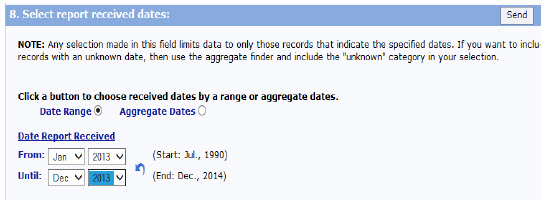 screen shot of Select Report Received Dates, which allows you to search for specific dates.