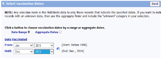 Screen shot of Select Vaccination Dates, which allows you to search for specific dates when persons were vaccinated.