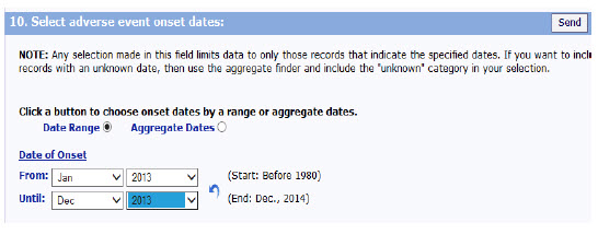 Screen shot of Select Adverse Event Onset Dates, which allows you to search for specific dates when an adverse event occurred.