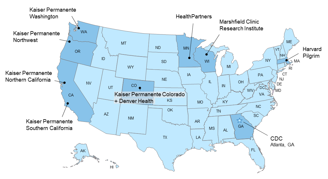 Participating VSD Healthcare Organizations in the US Map
