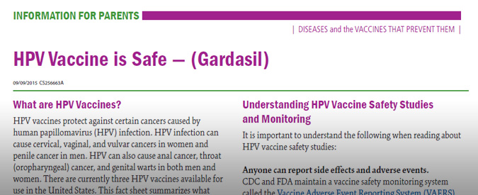 Read about the safety of quadrivalent HPV vaccine (Gardasil)
