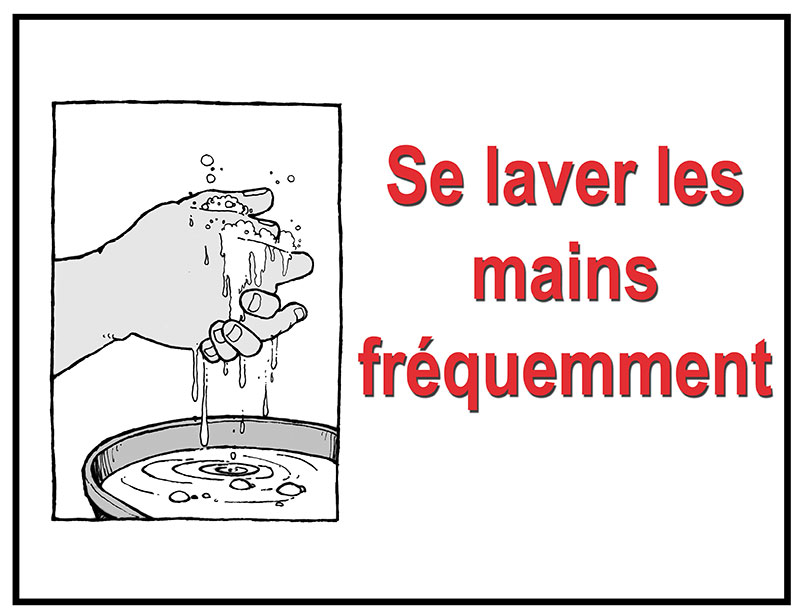 Wash hands often (bucket) in French