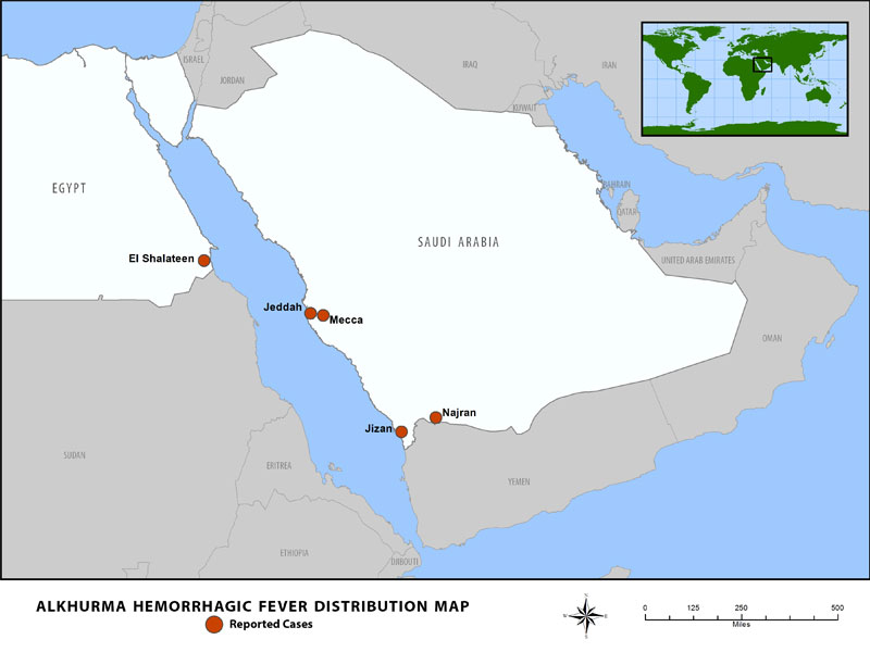 Alkhurma HF Outbreak distribution map