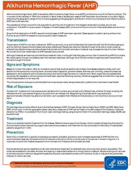 Factsheet: Alkhurma Hemorrhagic Fever (AHF)