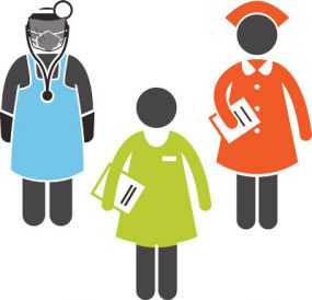 character images of 3 healthcare workers