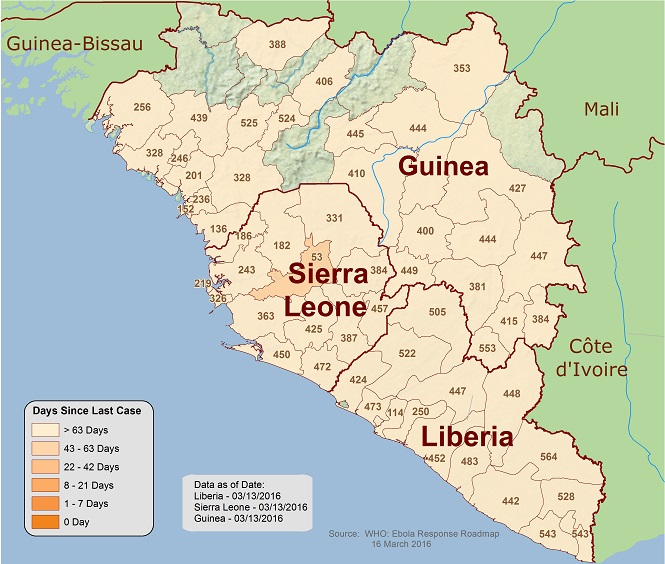Map of West Africa showing when the last cases of Ebola occured.