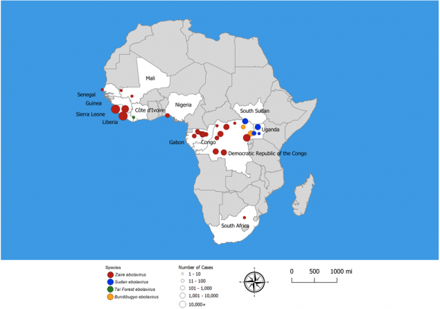 ebola afrika karta Ebola Virus Disease Distribution Map: Cases of Ebola Virus Disease  ebola afrika karta