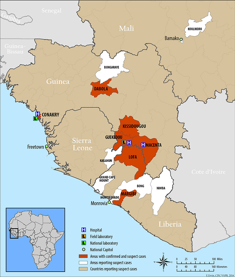 Mapa extensión brote Ébola