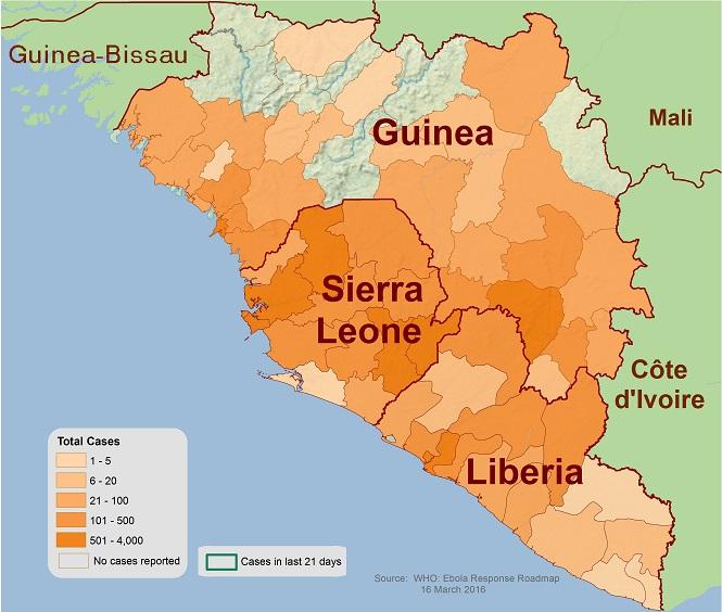 Mapa de distribución con los distritos y ciudades donde se han reportado presuntos casos de la enfermedad del Ébola