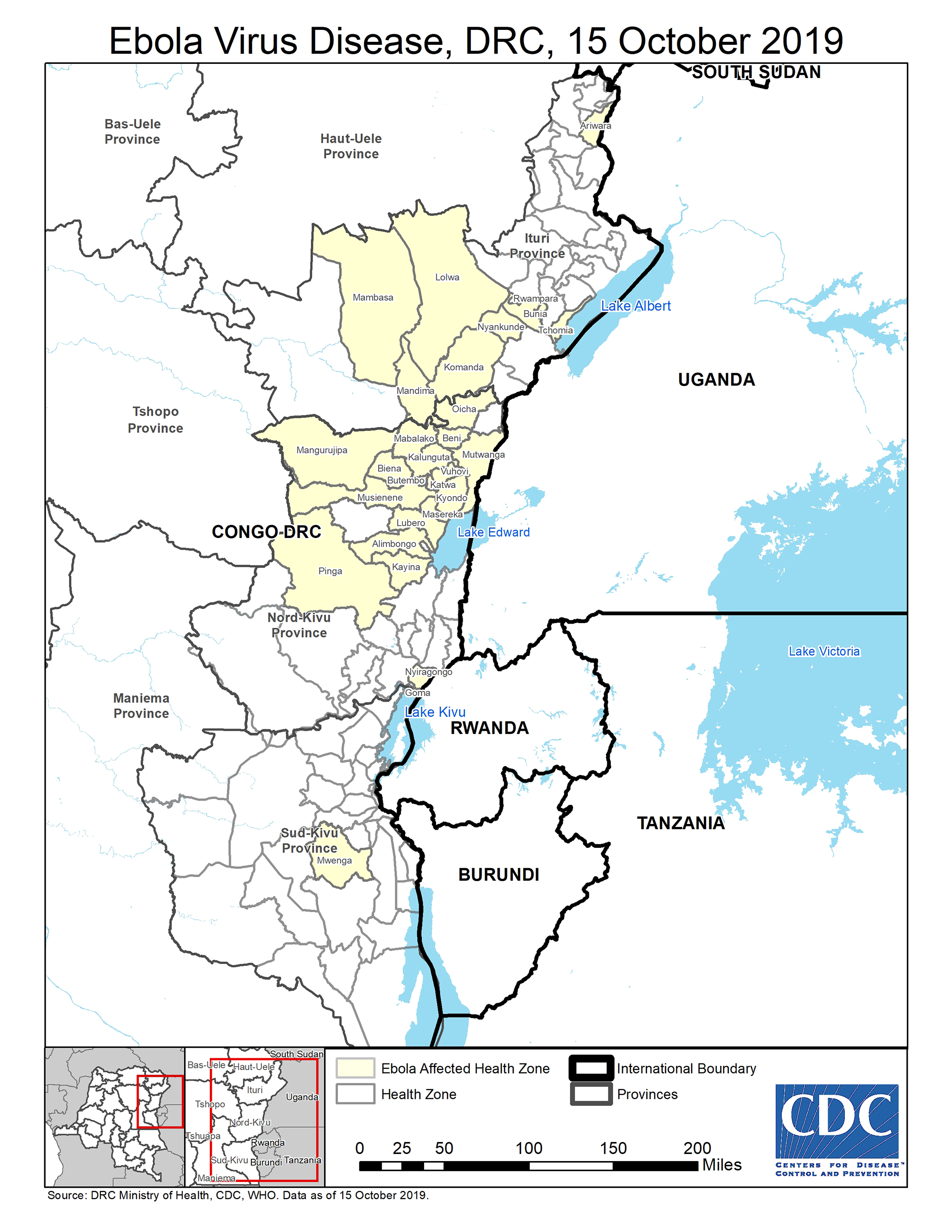 Map showing Ebola Outbreak 2019 in the DRC