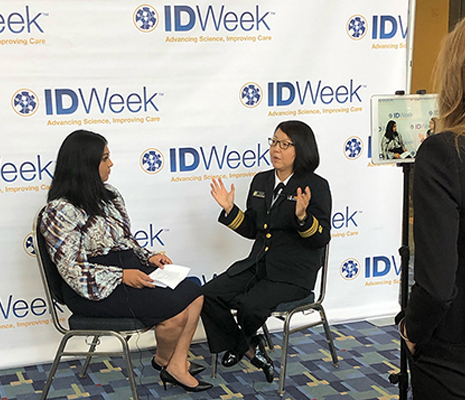 CDC Medical Officer Mary Choi, right, recounts some of her experiences in the current Ebola outbreak after a session at the October 2019 IDWeek conference in Washington.