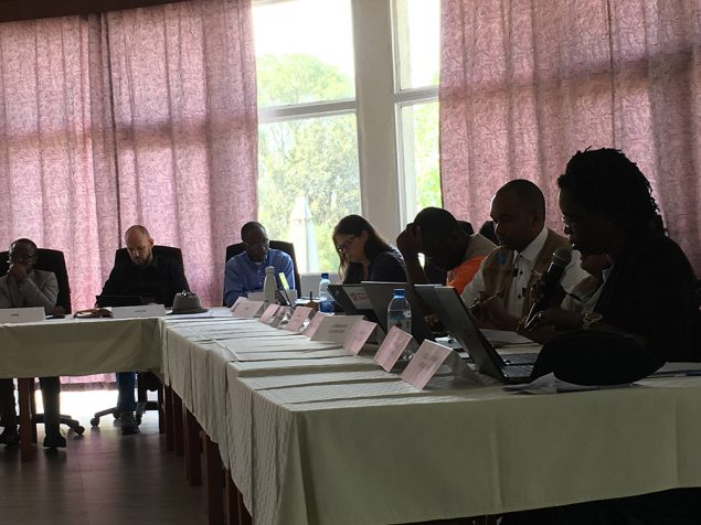 Norbert Soke leads a meeting in Goma.