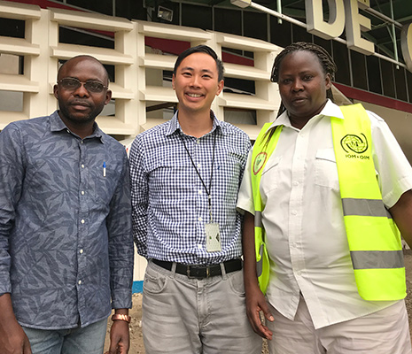 During his June-July deployment to the DRC, CDC Epidemic Intelligence Service officer Nathan Furukawa worked closely with Congolese border health officials like Guillaume Bahati (left), the deputy station chief at Goma's airport, and Dr. Clémentine Nchuti Mugisha, the airport station chief.