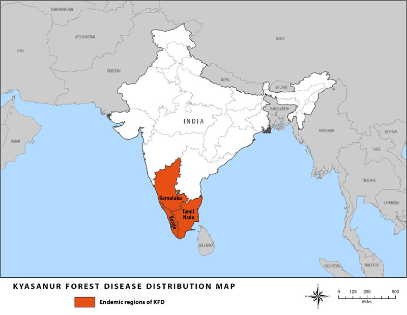 Kyasanur Forest Disease distribution map
