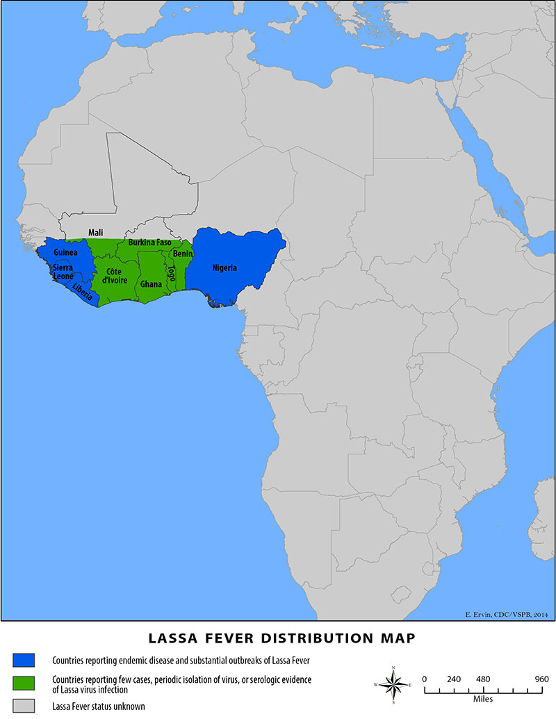 Lassa Fever distribution map.  Countries reporting endemic disease and substantial outbreaks are Guinea, Sierre Leone, Liberia, and Nigeria.  Countries reporting few cases, periodic isolation of virus, or serologic evidence of Lassa virus infection are Mali, Burkina Faso, Cote d'Ivoire, Ghana, Togo, and Benin.