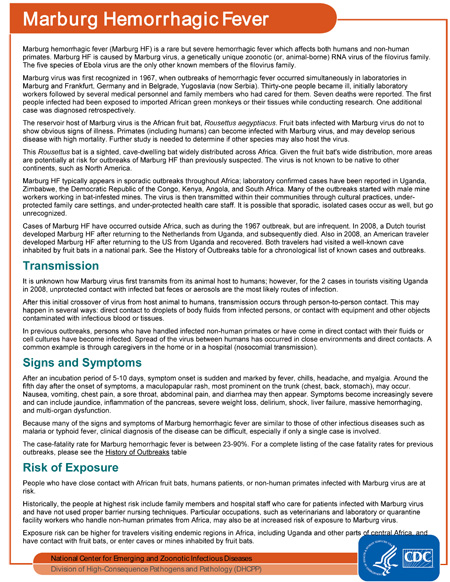 Factsheet: Marburg Hemorrhagic Fever