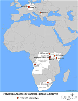 Map showing previous outbreaks of Marburg hemorrhagic fever.  Locations and years of outbreak are: Marburg 1967, Frankfurt 1967, Belgrade 1967, Durba 1998-2000, Kitaka Mine 2007, Kitum Cave 1987, Nairobi 1980, Maramagambo Forest (2) 2008, Kabale 2012, Uige 2005, Johannesburg 1975.