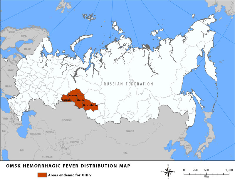 Distribution map showing areas endemic for Omsk Hemorrhagic Fever.  Countries are Kuran, Tyumen, Omsk, and Novosibirsk