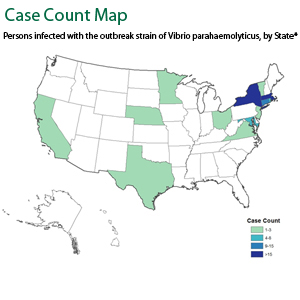 Persons infected with the outbreak strain of Vibrio parahaemolyticus, by State